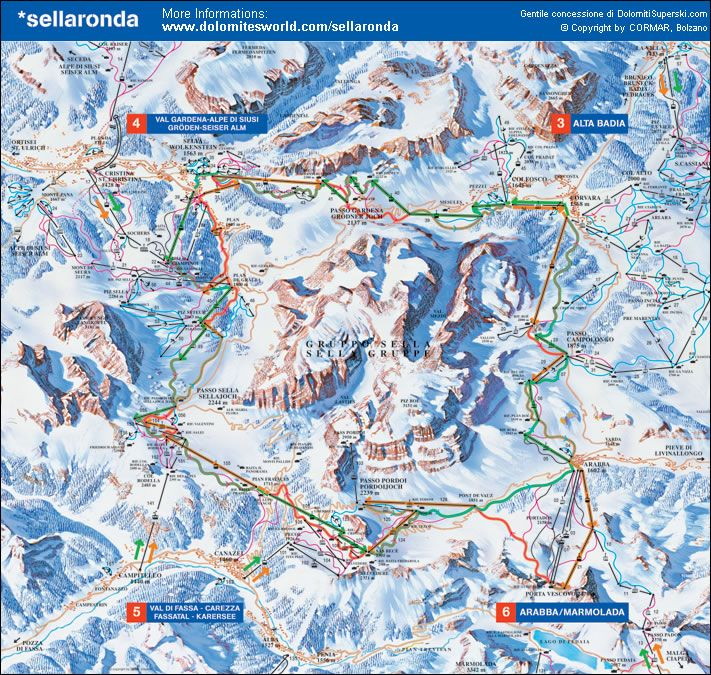 Sella Ronda - the most recognized ski route of the Dolomites.    It is a loop that runs either clockwise or counter clockwise around the massif of the Sella mountain range.This route can easily be accomplished in one day.