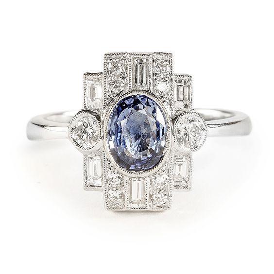 rubies.work/… 0974-sapphire-pin-brooch/ Beverley K Art Deco Sapphire and Diamond Ring | Greenwich Jewelers