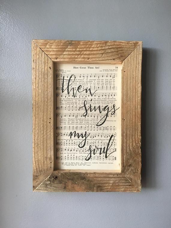 Hymnal Script Art How Great Thou Art Hymn Wall Hanging Etsy Sheet Music Crafts Hymnal Crafts Hymn Art