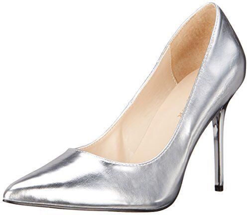 Pleaser Klassische High Heels Pumps Stiletto, Classique-20, Silber-Metallic, 35-46