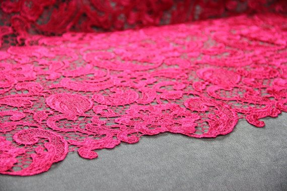 Hot Pink Guipure Lace | Bridal Lace | Free Delivery within UK