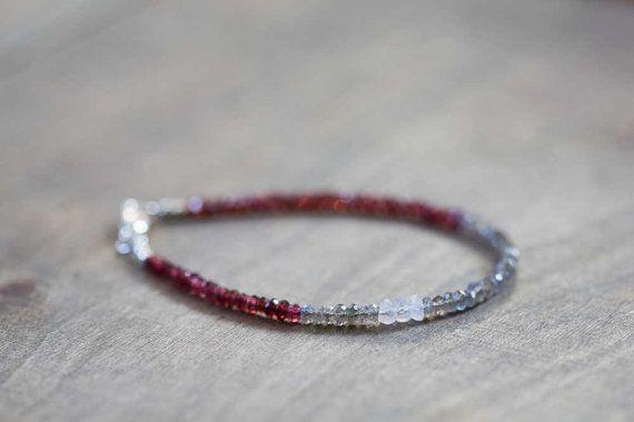 Labradorite and Red Garnet Bracelet Delicate by MoonLabJewelry