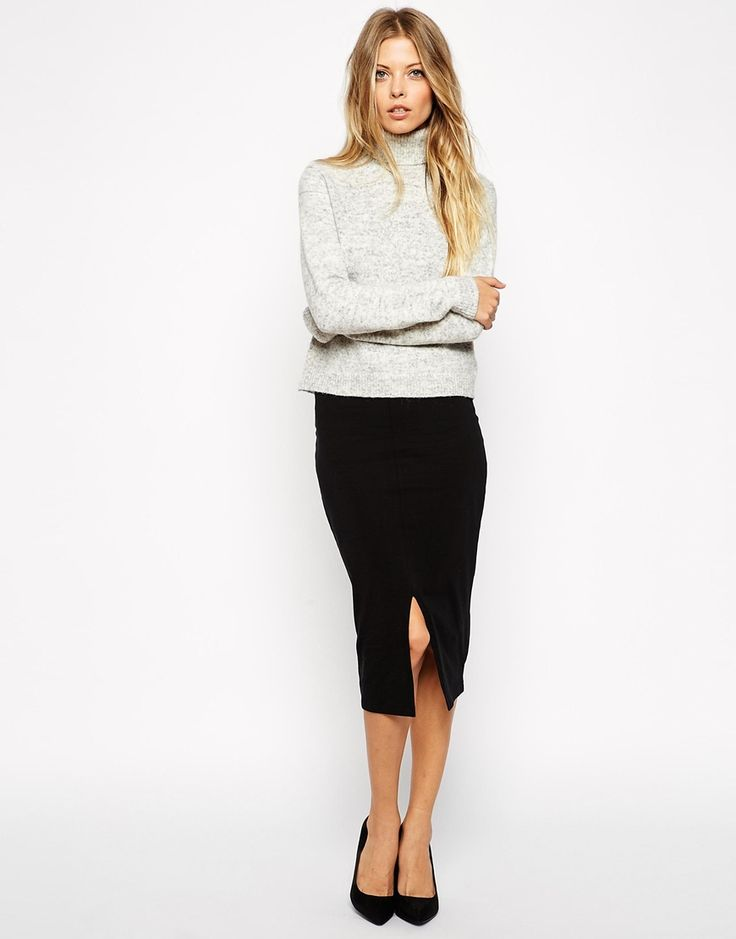 black pencil skirt & oversized knit