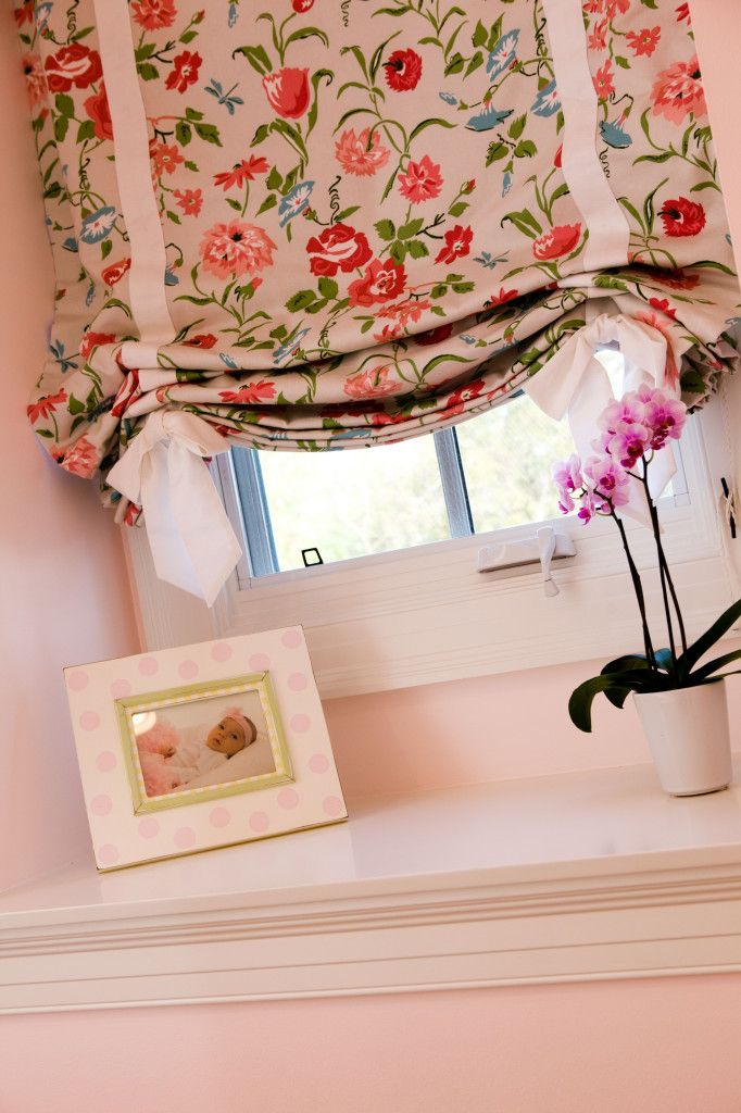Floral Roman Shade in Traditional Classic Preppy Girl's Room - we love the ribbon detail! #biggirlroom: Girl Bedroom, Girls, Girl Room, Floral Roman, Window Treatments, Abbey S Bedroom, Diy Relaxed Roman Shades, Relaxed Romanshade