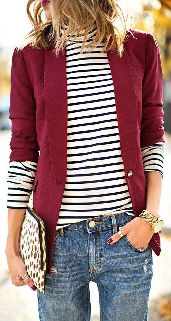 Wine Blazer + Stripes + Denim                                                                             Source