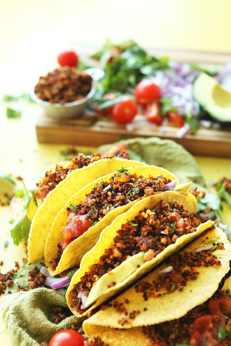 EASY Quinoa Taco %22Meat%22 that's crispy, flavorful, and protein-packed! 9 ingredients, SO EASY, healthy! #vegan #glutenfree #quinoa #tacos #mexican #plantbased #recipe #minimalistbaker