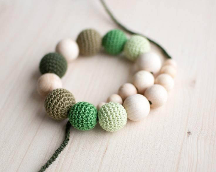 Teething necklace / Crochet nursing necklace - Shades of green. $23.00, via Etsy.