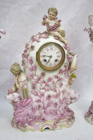 ... Porcelain Clock and Candelabra Garniture, possibly Meissen, retailed by Bailey Banks & Biddle, ...
