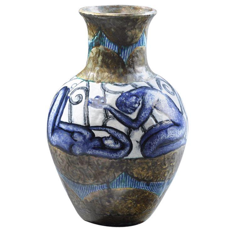 1stdibs   Edouard Cazaux - Rare Earthenware Vase Circa 1930