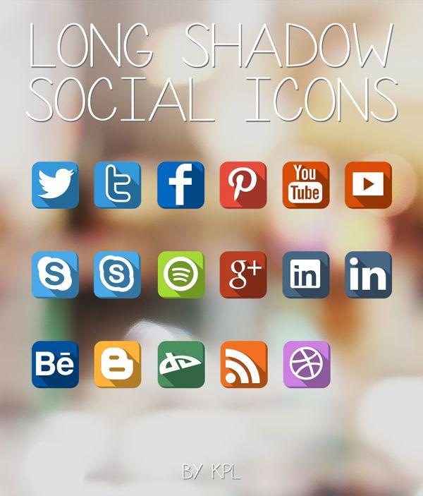 LongShadow Social Icons Set by KPL Designs , via Behance