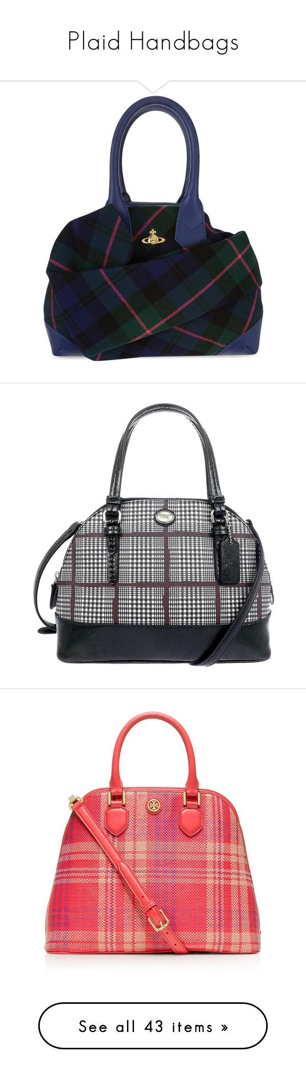 """Plaid Handbags"" by jayhawkmommy on Polyvore featuring bags, handbags, tote bags, handbags totes, vivienne westwood handbags, vivienne westwood purse, zip tote, tote bag purse, multicolor and coach satchel"