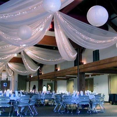 Tenture mariage tulle blanc décoration 80cm x 9 mètres Tenture décoration de salle pas cher 80cm x 9 metres…Voir la présentation