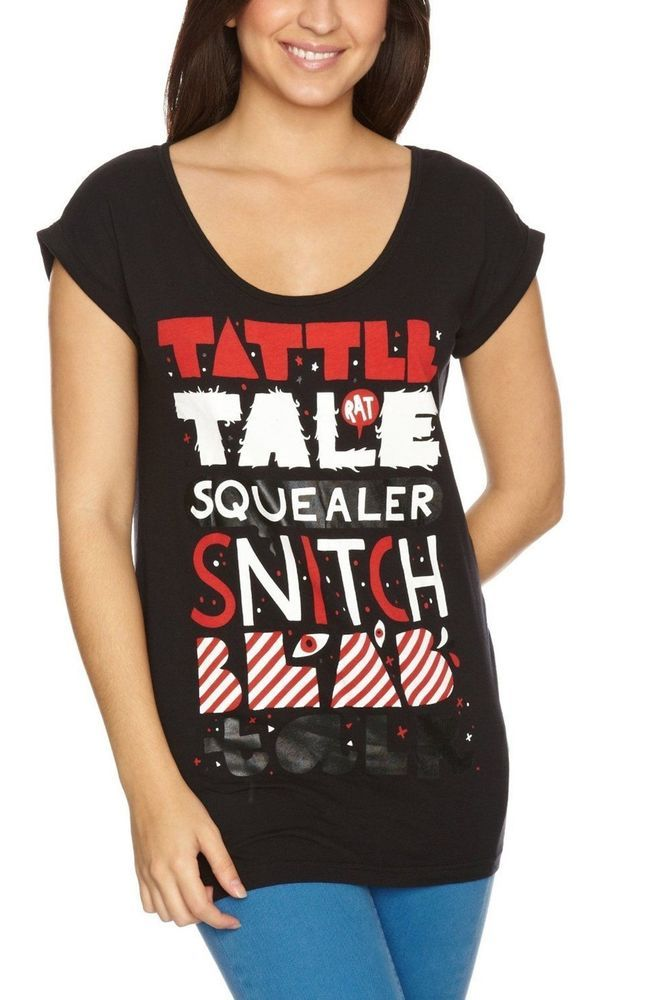 Iron Fist Black Ladies Squealer Boyfriend T-Shirt Tattle Tale Long $45.50 CAD Now 75% OFF