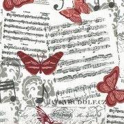 Látka Hudební s motýli 100870