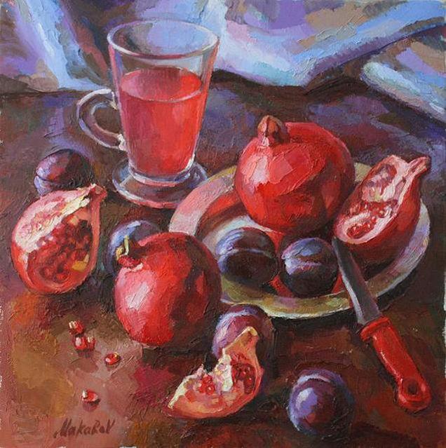 Гранаты_Granati , Oil Canvas , Размер Холста 35см Х 35см .jpg (636×639)