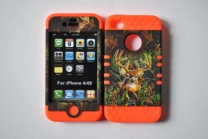Amazon.com: AT Mossy Oak Deer Camo Snap On For AT/ Sprint/Verizon Apple Iphone 4/4g/4s with Orange Silicone Hybrid Case: Cell Phones & Accessories