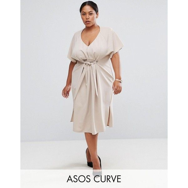 ASOS Curve V Neck Midi Column with Eyelet and Tie ($71) ❤ liked on Polyvore featuring dresses, pink, plus size, pink maxi dress, pink midi dress, plus size dresses, plus size shift dress and plus size party dresses