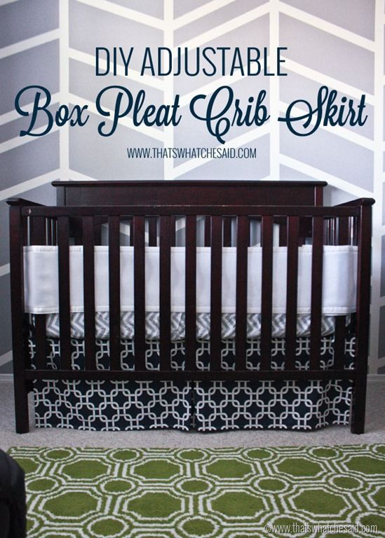 Easiest Adjustable Box Pleat Crib Skirt Tutorial at thatswhatchesaid.com