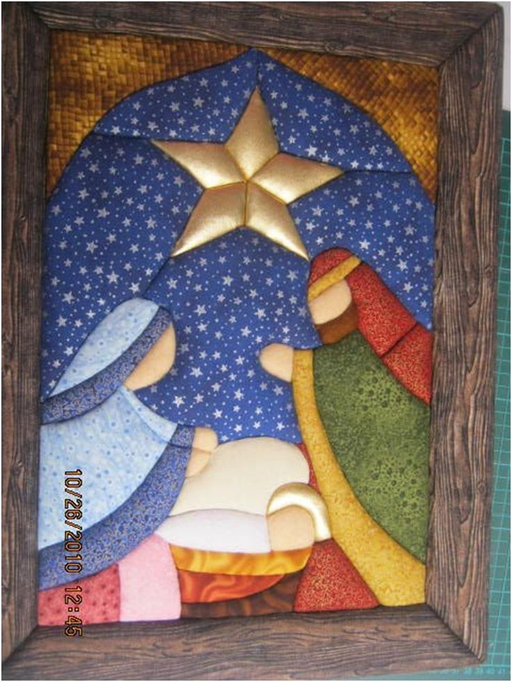 Presépio - patchwork sem agulhas. Só faltaram as aureolas em Maria e José.
