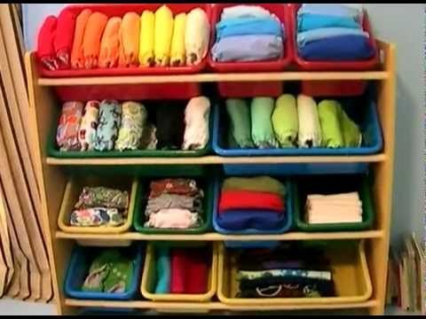 Cloth Diaper Organization - love how she has it set up in the closet in this video.