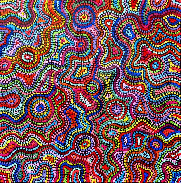 Aboriginal Artwork by Sally Clark. Sold through Coolabah Art on eBay. Cataogue ID 13147