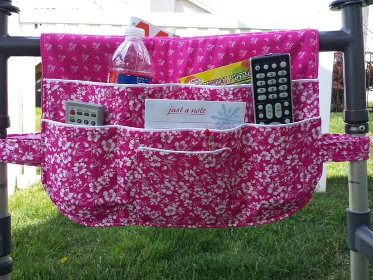 Walker Bag, Walker Bags, Walker Tote, Walker Caddy, Walker Organizer, Walker Accessory, Lots of Pockets, Pink Blossoms by CraftyWanda on Etsy https://www.etsy.com/listing/276545686/walker-bag-walker-bags-walker-tote
