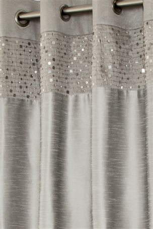 inset Buy Silver Sequin Banded Eyelet Curtains from the Next UK online shop