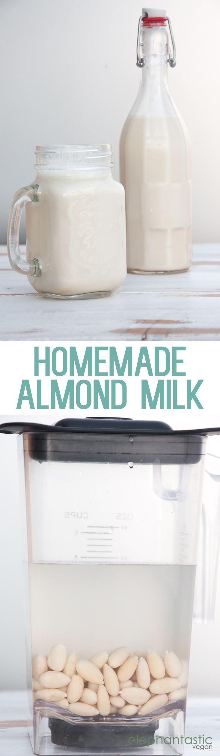 Homemade Almond Milk  ElephantasticVegan.com