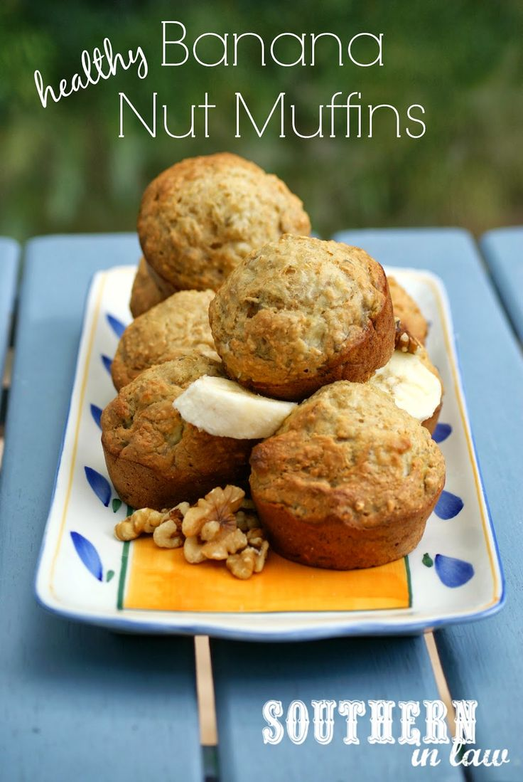 Healthy Banana Nut Muffins Recipe - low fat, gluten free, whole wheat ...