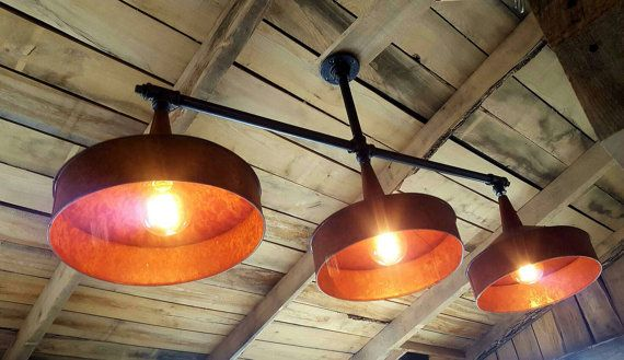Industrial Lighting Chandelier- Copper Funnel- Iron Pipe Ceiling Light- Farm House Chandelier- Rustic Pool Table Lighting- FREE SHIPPING