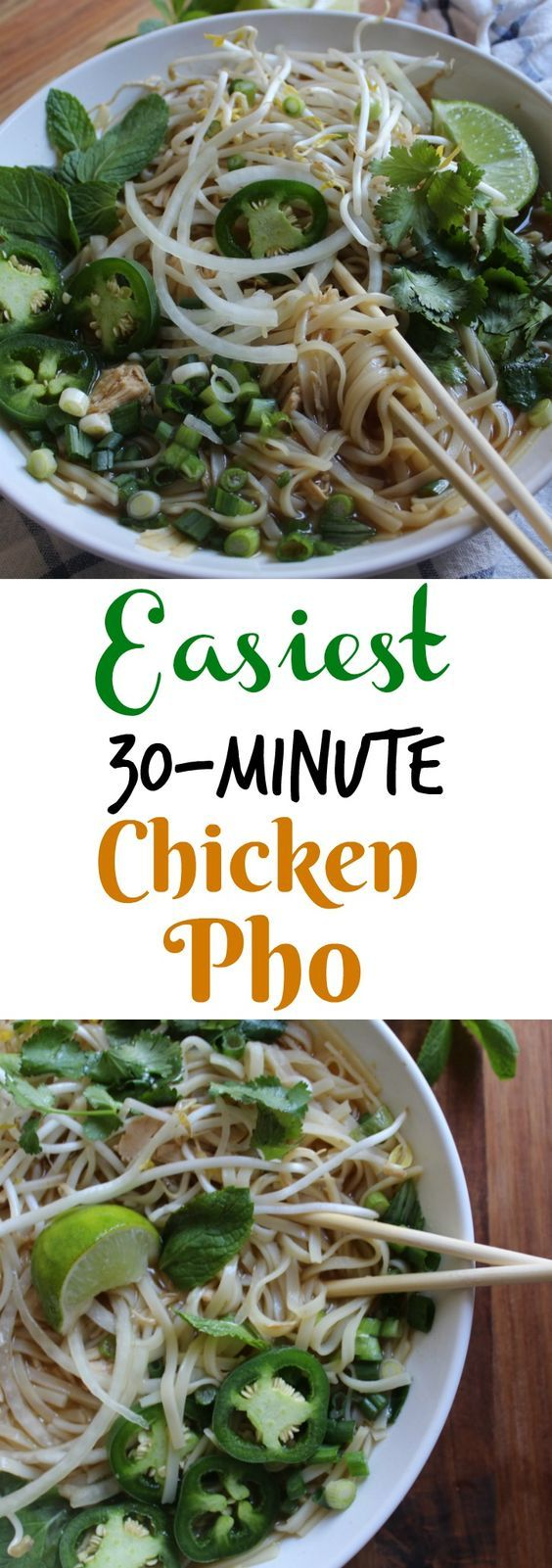 This easy 30 minute Chicken Pho soup is a delicious recipe that won't require hours in the kitchen. Inspired by the Vietnamese traditional dish, it  has the same great flavors with the optional sides to really enhance the soup.