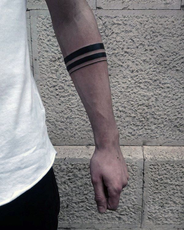 Tattoo Trends – Mens Two Black Band With Thin Solid Line Tattoo On Forearm
