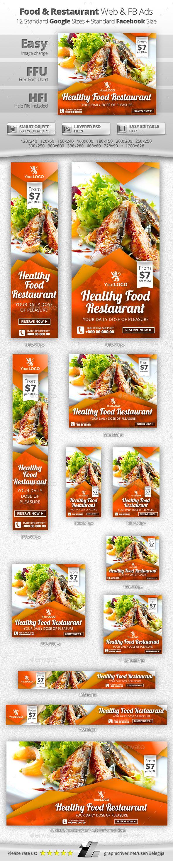 Food & Restaurant Web & Facebook Banners Template #design #ads Download: http://graphicriver.net/item/food-restaurant-web-facebook-banners/13097986?ref=ksioks