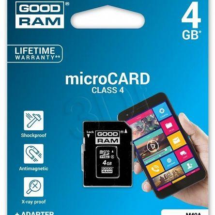 Ogólne:        Goodram micro SDHC 4GB Class 4 +adapter pochodzi z oficjalnej polskiej dystrybucji. Jest to oryginalny produkt firmy GoodRam - nowy, nieużywany, sprawny technicznie i fabrycznie zapakowany. Stanowi on wysokiej jakości wyrób, jeden z najnowszych modeli tego producenta w grupie Pamięci SecureDigital. Spełnia, określone przez GoodRam, parametry techniczne przy zachowaniu ustalonych warunków stosowania. Gwarantuje pełną satysfakcję i zadowolenie z jego użytkowania.     ...