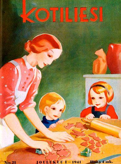 Old Finnish magazine. Kotiliesi cover, 1941. Joululeivonta - Christmas baking