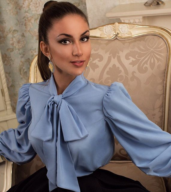 Blue blouse with a pussy-bow blouse with bow Long by LaMiaPerla,this lady is gorgeous in her big pussybow