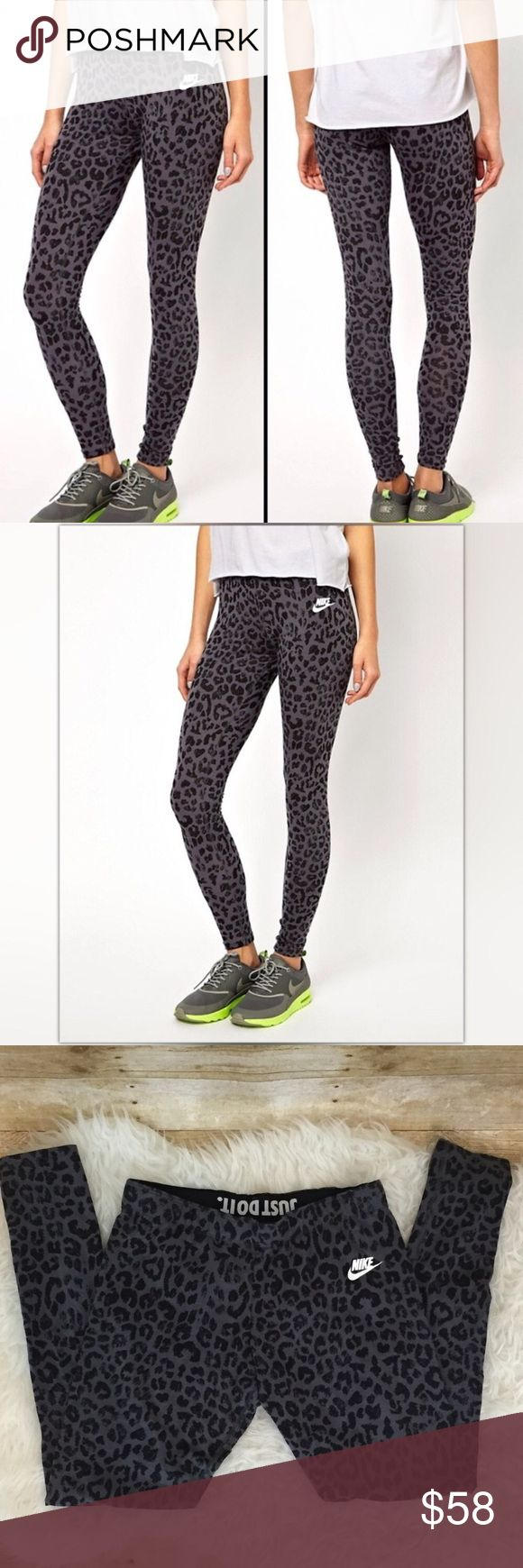 "Nike💕Classic Leg-A-See Running Cheetah Leggings 💕lovely Classic  Nike Leg-a-see leggings in a fun black cheetah print with elastic waistband that folds over to reveal ""just do it"" logo  💕condition: EUC with light wear but no flaws  💕size medium   💕material is 68% Cotton / 27% rayon/5x Spandex so as to not lose shape  🚫trades//bundle to save ✅✅ Nike Pants Leggings"