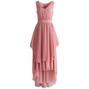 Chicwish Ethereal Waterfall Chiffon Maxi Dress in Candy Pink