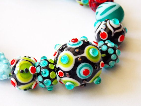 lampwork bead set hello statement piece