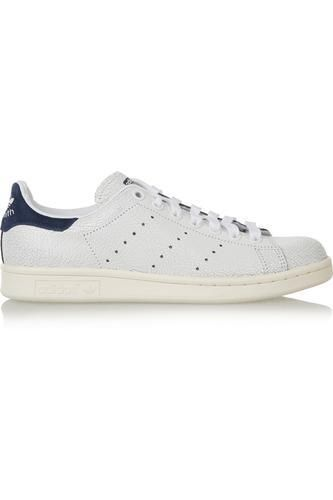 Stan Smith cracked-leather sneakers #sneakers #offduty #covetme #adidasoriginals