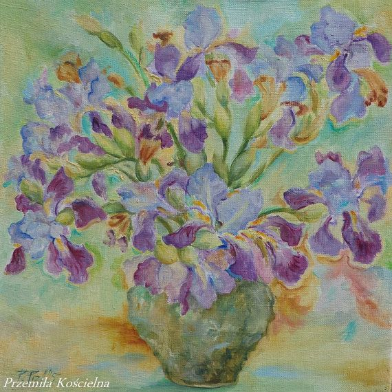 FLOWERS OIL PAINTING on canvas  Irises bouquet by CanisArtStudio
