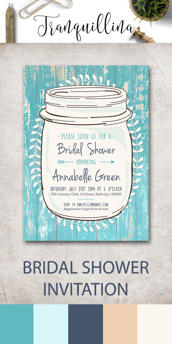 Rustic Bridal Shower Invitation Mason jar Bridal Shower Invites, Turquoise Bridal Shower Ideas, Teal Bridal Party Invitation. For more DIY printable invitations, check the following link: tranquillina.etsy.com