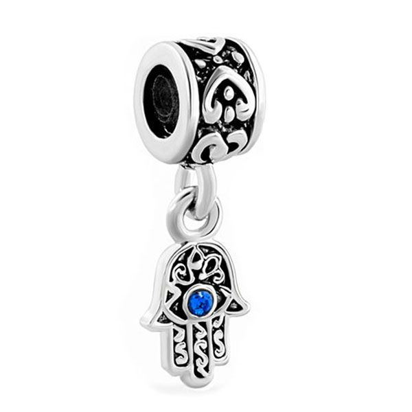 Free shipping 1PC Blue Evil Eye Hamsa Hand of Fatima Dangle Charm Hanging Pendant Fits Pandora European Bracelet #Affiliate