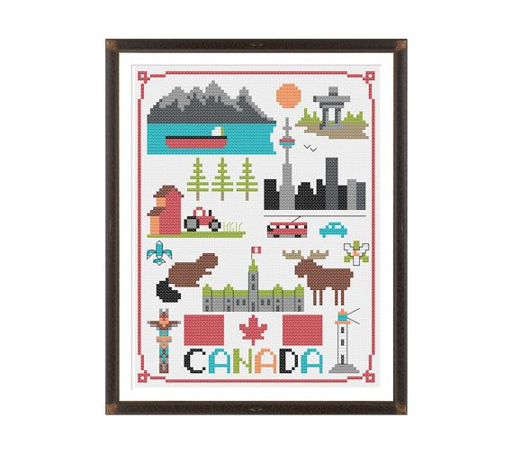 Canada Cross Stitch Pattern Instant Download by tinymodernist