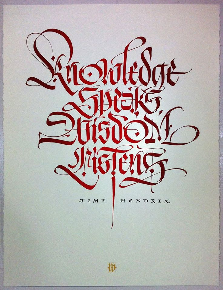 Jimi Hendrix quote -- amazing Gothic lettering, trying to find the calligrapher to give credit.