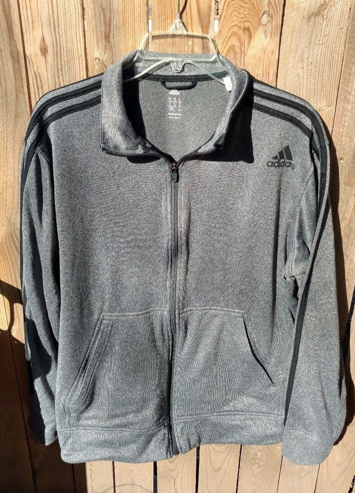 Men's Adidas Grey Zip Up Running Track Jacket Size XL Climawarm Pockets #Adidas #TrackJacket