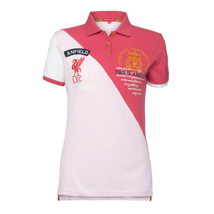 Official LFC Ladies Cavern Polo. 100% Cotton.  Cut and sew pique polo with diagonal front sections in pink and coral. Gold, red and obsidian crest embroidery over chalk print at left chest.  Order here: http://store.liverpoolfc.tv/Ladies-Cavern-Polo/pid-35620