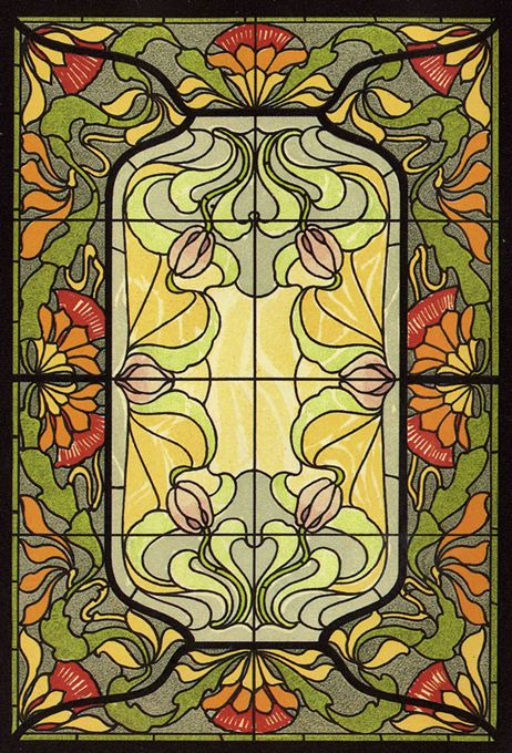 Masterpieces of Art Nouveau Stained Glass Design: 91 Motifs in Full Color