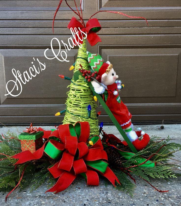 Elf decorating Christmas Tree Arrangement