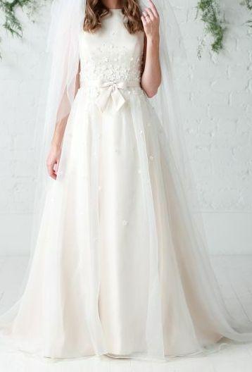 Charlotte Balbier Blush Pink Hepburn Sample Wedding Dress for sale, size 12, £450, available on www.sellmyweddingdress.co.uk   http://www.sellmyweddingdress.co.uk/listing/charlotte-balbier-blush-pink-hepburn-dress-12/2088